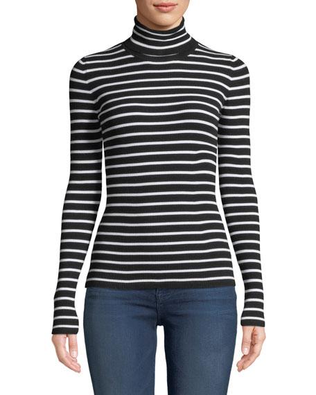 Long-Sleeve Striped Turtleneck Top