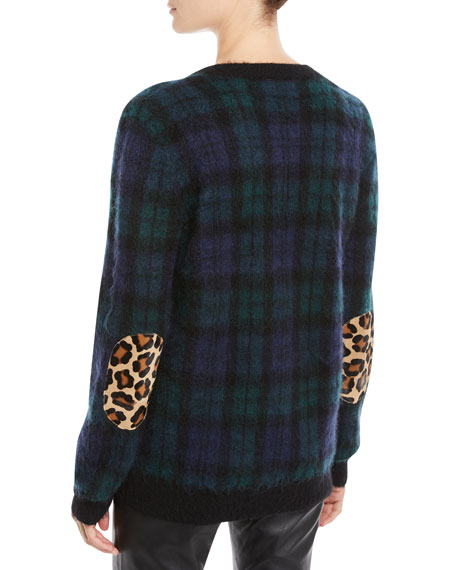 V-Neck Long-Sleeve Tartan Pullover Sweater w/ Calf Hair Patches