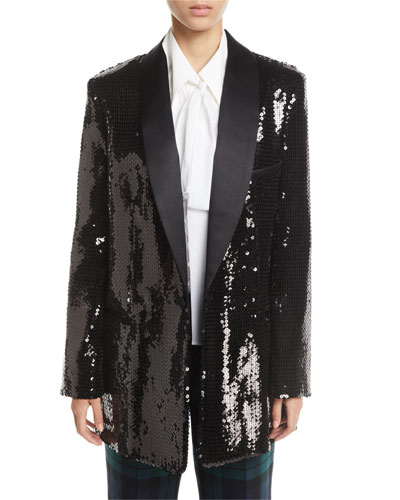 Sequined Long Boyfriend Blazer