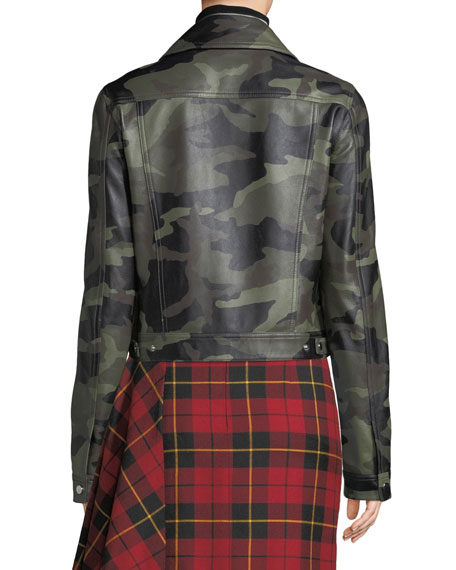 Camo-Print Leather Bomber Jacket