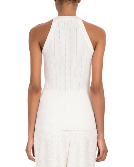 Sleeveless Button-Shoulder Wide-Rib Wool Top