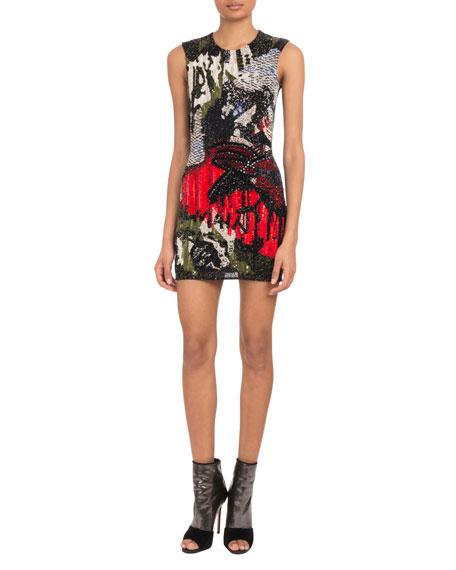 Sleeveless Graffiti-Embellished Mini Cocktail Dress