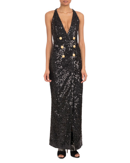 Sleeveless Deep-V Six-Button Paillettes Sequin Evening Gown