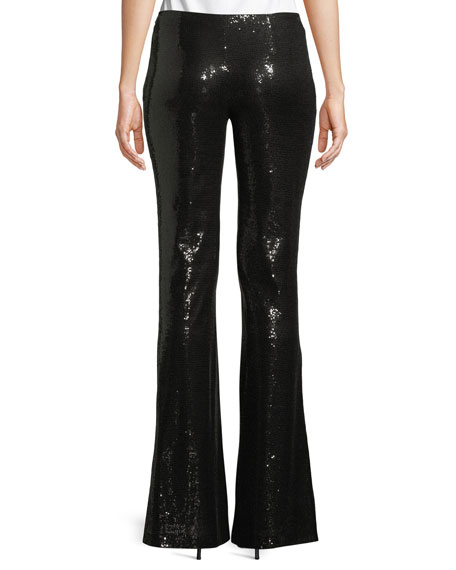Flared-Leg Stretch-Sequin Galaxy Pants
