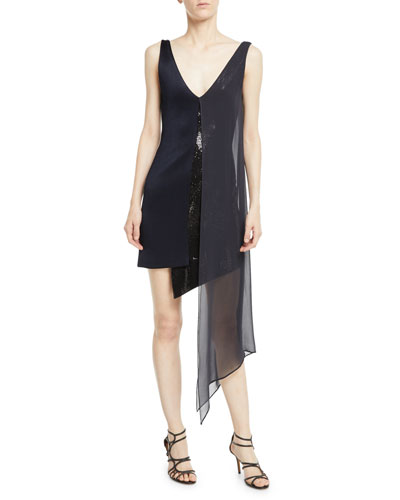 Sleeveless V-Neck High-Shine Jersey Cocktail Dress w/ Sequins & Chiffon Overlay