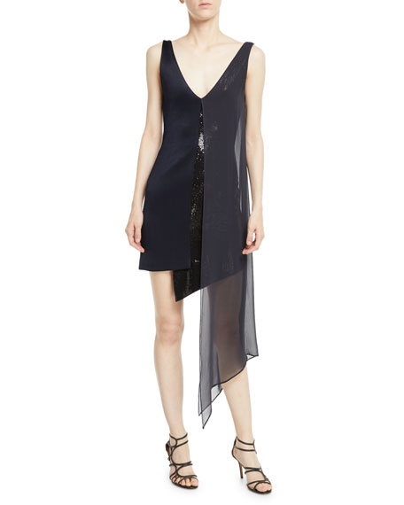 Galvan Sleeveless V-Neck High-Shine Jersey Cocktail Dress w/