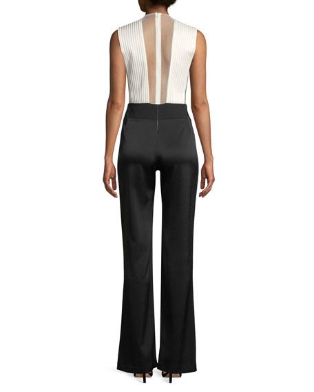 Sleeveless Deep-V Sheer-Tulle Bodice Bicolor Tuxedo Jumpsuit