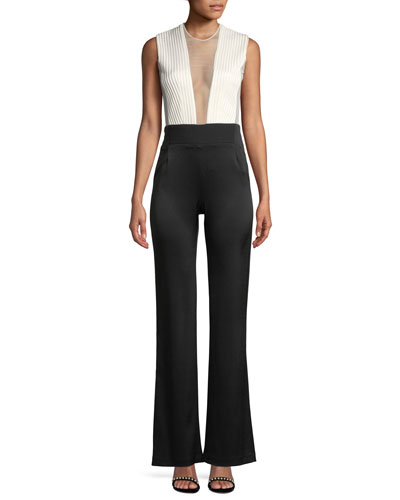 Sleeveless Deep-V Sheer-Tulle Bodice Bicolor Tuxedo Jumpsuit