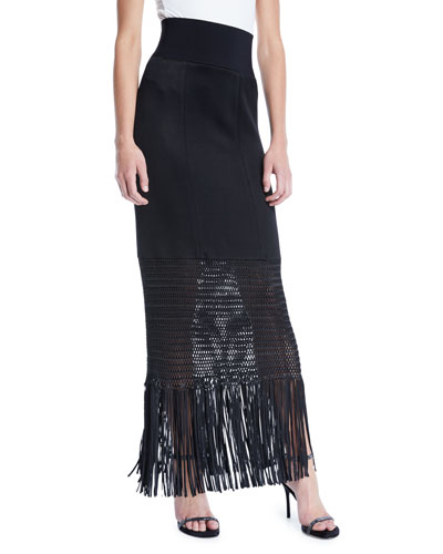 Vesper High-Shine Knit Jersey Long Skirt w/ Fringe Hem