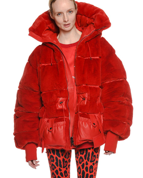 OVERSIZED QUILTED FAUX-FUR PUFFER COAT
