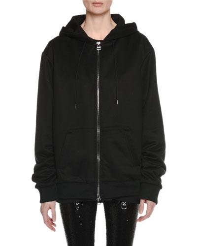 Zip-Front Hooded Sweatshirt w/ Beaded Logo