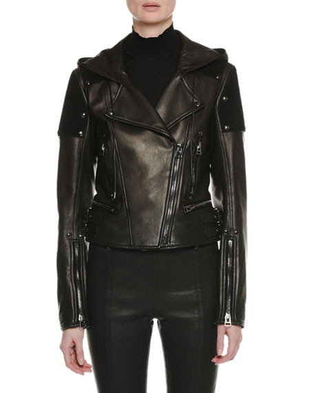 Zip-Front Leather and Suede Hooded Biker Jacket