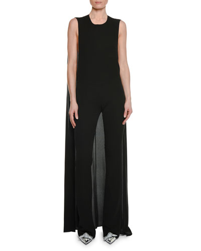 Sleeveless Straight-Leg Georgette Jumpsuit with Cape