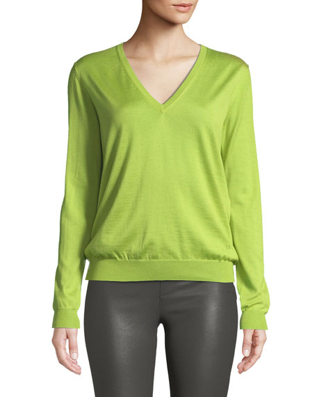 V-Neck Long-Sleeve Fine Cashmere-Silk Top