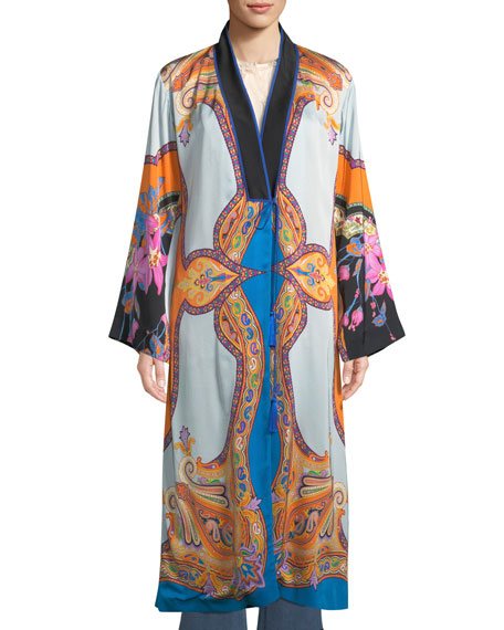 Tie-Front Scarf-Print Long-Sleeve Long Kimono