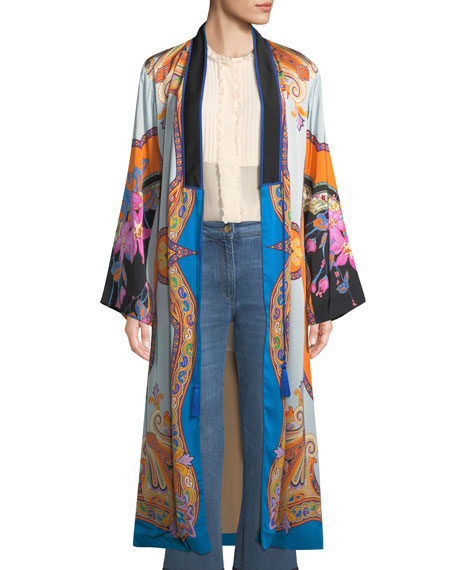 Tie-Front Scarf-Print Long-Sleeve Long Kimono, Blue