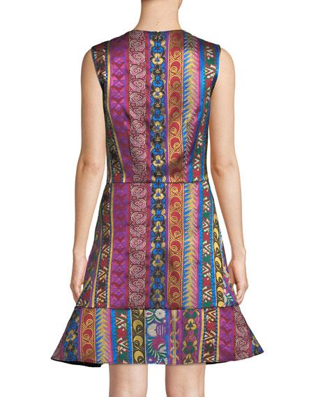 Multi-Ribbon Jacquard Sleeveless Dress with Flounce Hem