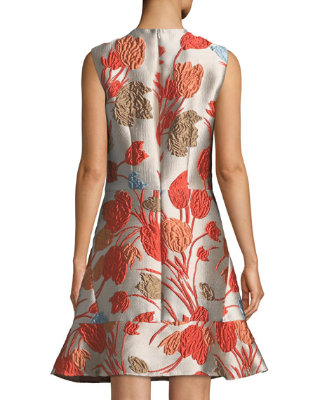 Cloqué Sleeveless Flip-Hem Dress