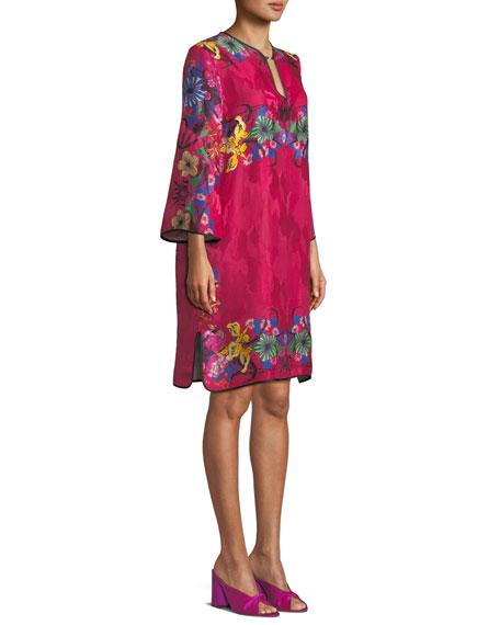 Split-Neck Bracelet-Sleeve Floral-Jacquard Shift Dress