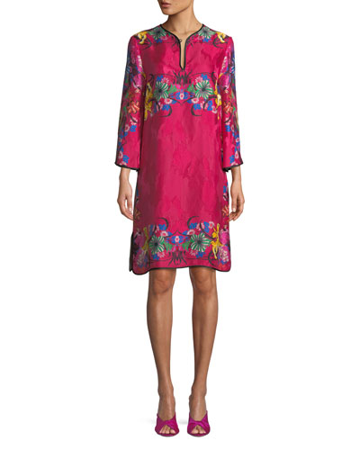 Split-Neck Bracelet-Sleeve Floral-Jacquard Shift Dress