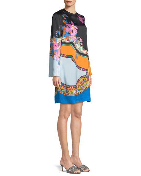 Scarf-Print Long-Sleeve Shift Dress