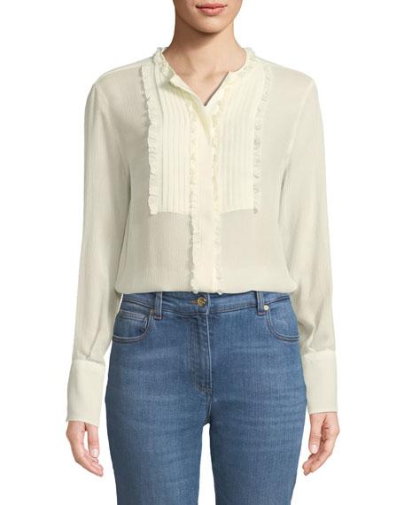 Long-Sleeve Silk Georgette Tunic w/ Ruffled Pleated Bib