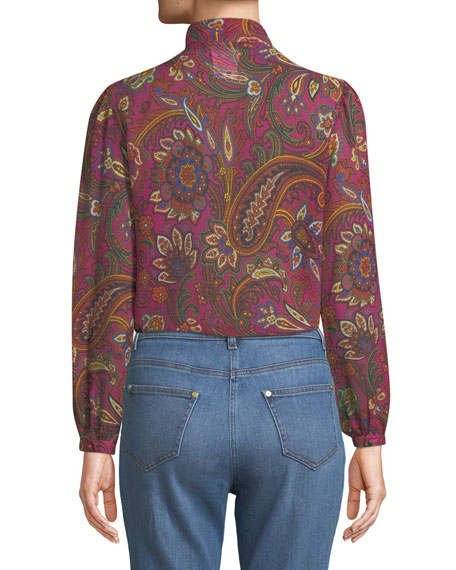 Paisley Silk Georgette Jabot Blouse
