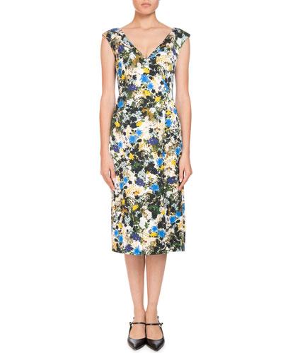 Jyoti Off-the-Shoulder V-Neck Meadow Floral Jacquard Sheath Dress