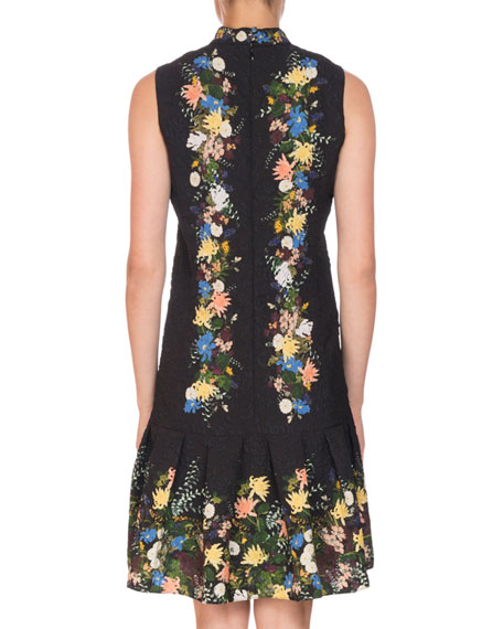 Nena Band-Collar Sleeveless A-Line Floral-Jacquard Dress