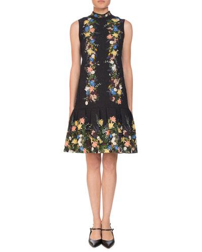 Nena Band-Collar Sleeveless A-Line Floral-Jacquard Dress