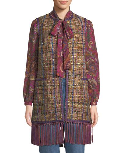 Tweed Fringe-Hem Vest