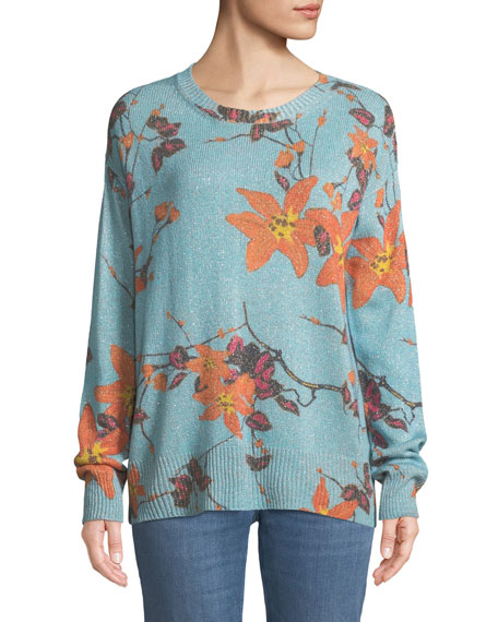 Metallic Floral Crewneck Boyfriend Sweater