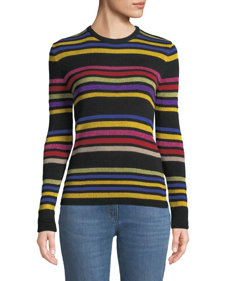Crewneck Metallic Multicolor Striped Knit Sweater