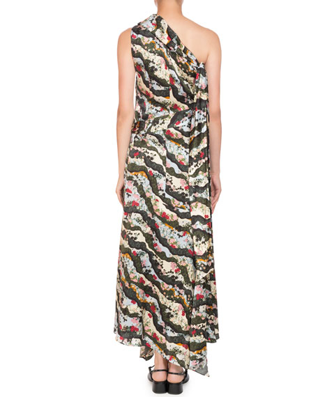 Zainab One-Shoulder Asymmetric Keiko Marble-Print Long Dress with Handkerchief Hem