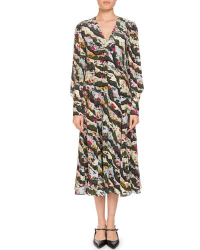 Osiris V-Neck Long-Sleeve Floral-Print Silk A-Line Dress