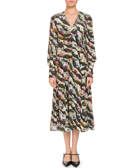 Erdem Osiris V-Neck Long-Sleeve Floral-Print Silk A-Line Dress