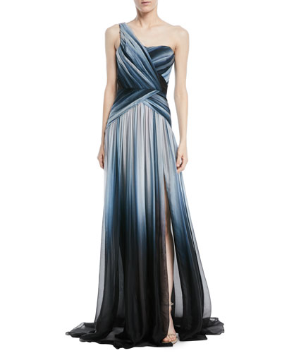 One-Shoulder Ombre-Printed Chiffon Evening Gown