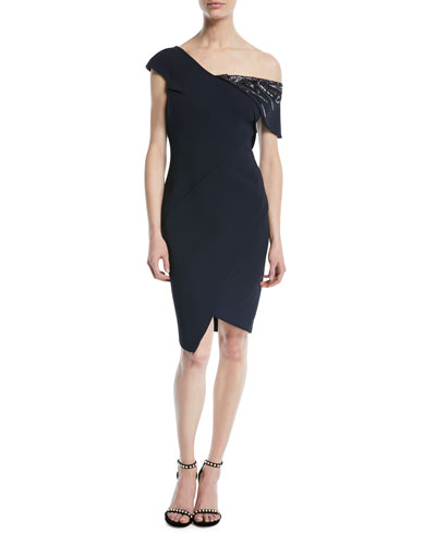 One-Shoulder Bonded Crepe Cocktail Dress with Crystal Beading