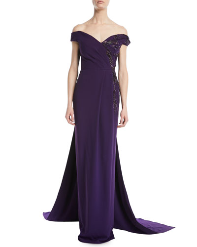 Off-the-Shoulder Stretch-Crepe Evening Gown w/ Crystal-Beading