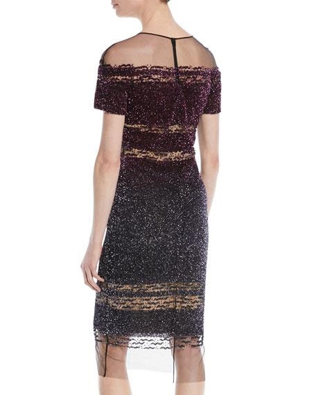 Confetti-Sequins Short-Sleeve A-Line Cocktail Dress