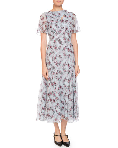Kathryn Cape-Sleeve Keiko Diamond Silk Dress