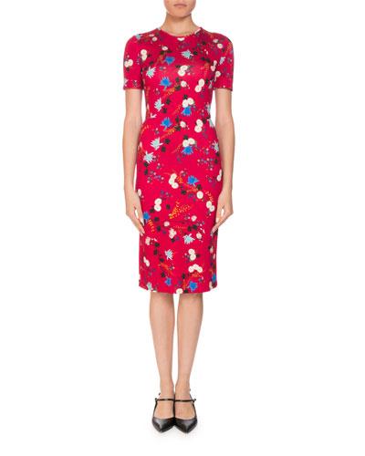 Essie Hideko Garden Short-Sleeve Crewneck Floral-Print Fitted Dress