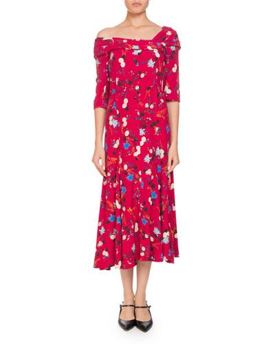 Iman One-Shoulder Half-Sleeve Garden Floral-Print A-Line Dress