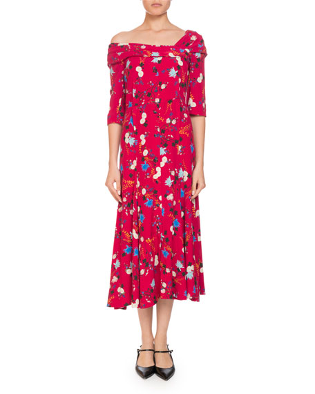 Iman One-Shoulder Half-Sleeve Garden Floral-Print A-Line Dress