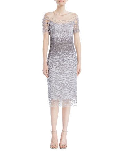 Round-Neck Short-Sleeve Sequined Cocktail Dress