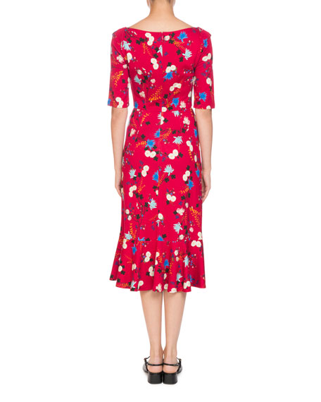 Glenys Hideko Garden Floral-Print Calf-Length Dress