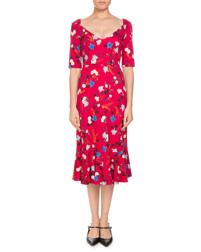 Glenys Hideko Garden Floral-Print Calf-Length Dress