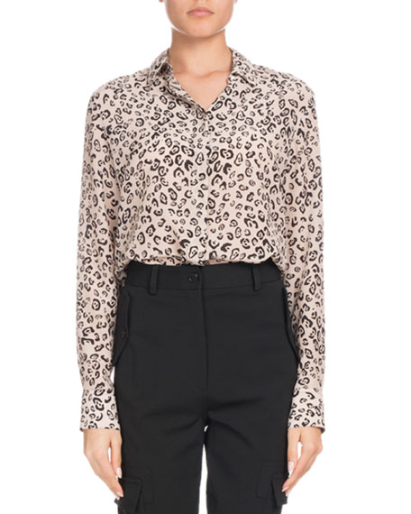 Chika Long-Sleeve Button-Front Leopard-Print Silk Shirt