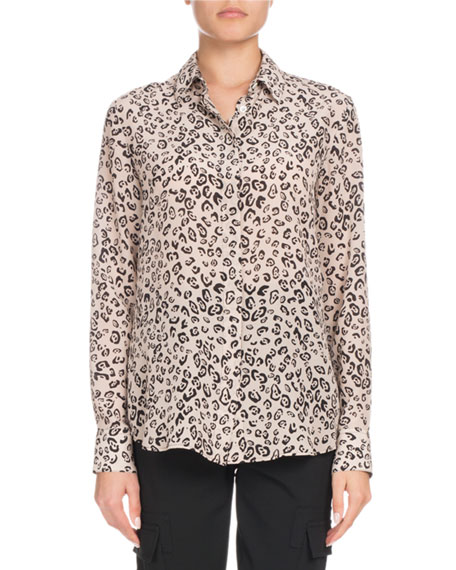 Altuzarra Chika Long-Sleeve Button-Front Leopard-Print Silk Shirt