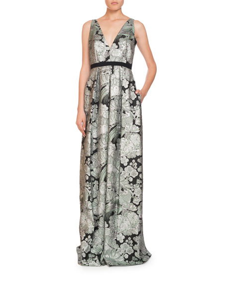 Ceren V-Neck Sleeveless Blossom Bird Jacquard Evening Gown